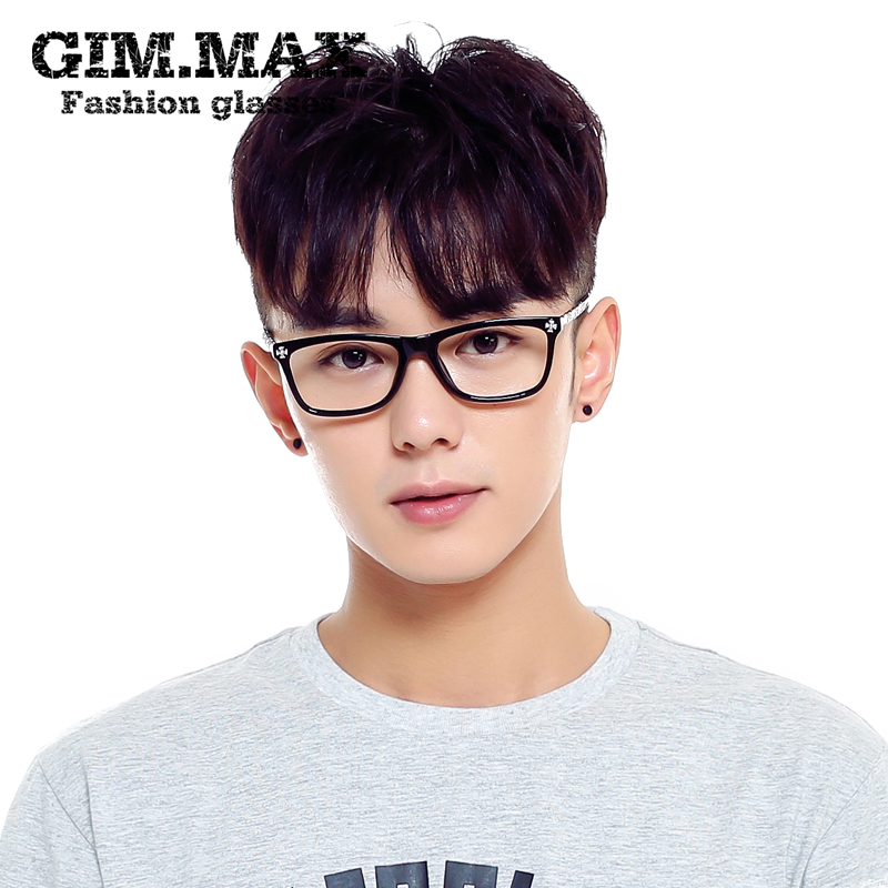 Ms. korean version of the retro gimmax rectangular metal temples rimmed glasses frame glasses frame male