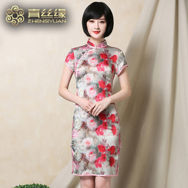 Ms. silk edge elegant cheongsam dress 2016 summer new short paragraph slim silkworm silk silk dress retro dress
