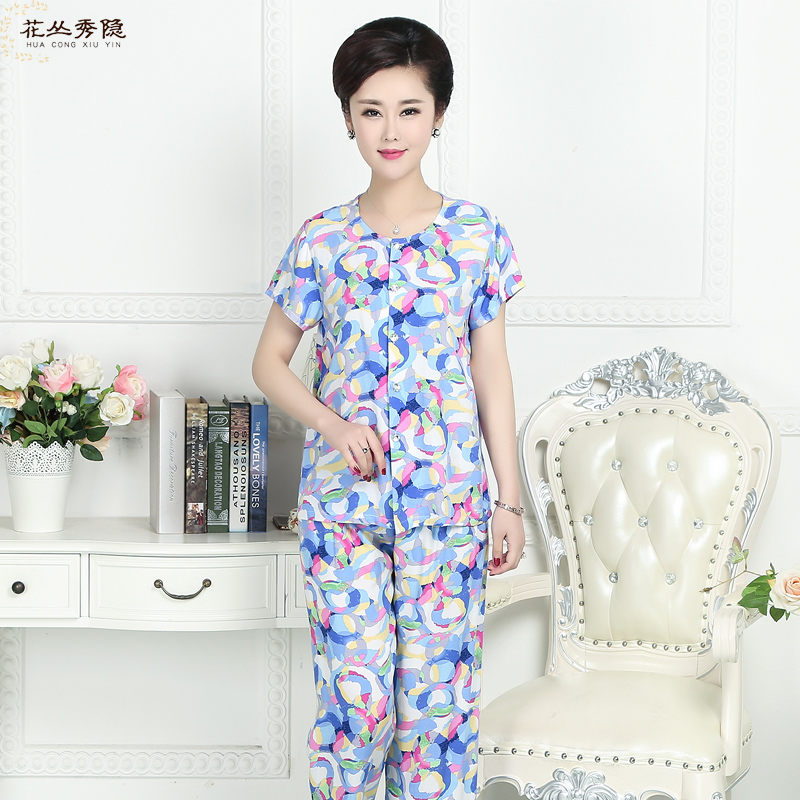 Ms. silk pajamas middle-aged mom summer short sleeve cotton silk rayon suit trousers round neck long cardigan tracksuit