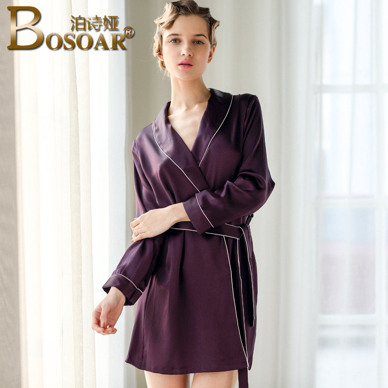 Ms. silk pajamas silk nightgown female summer tracksuit bosoar temperament elegant bathrobe female