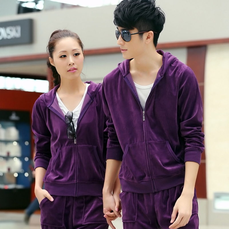 Ms. spring and autumn male lovers sportswear sports suit long sleeve velvet leisure big yards long trousers