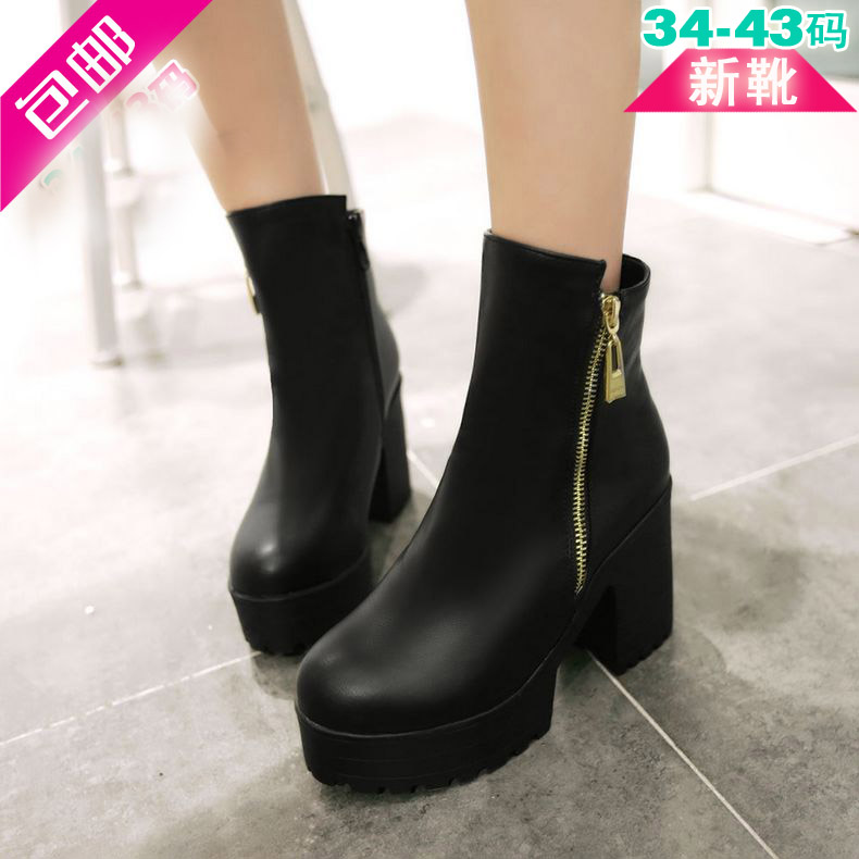 Ms. spring and autumn single shoes free shipping rome handsome woman with short boots side zipper martin boots thick with soft leather boots large size women