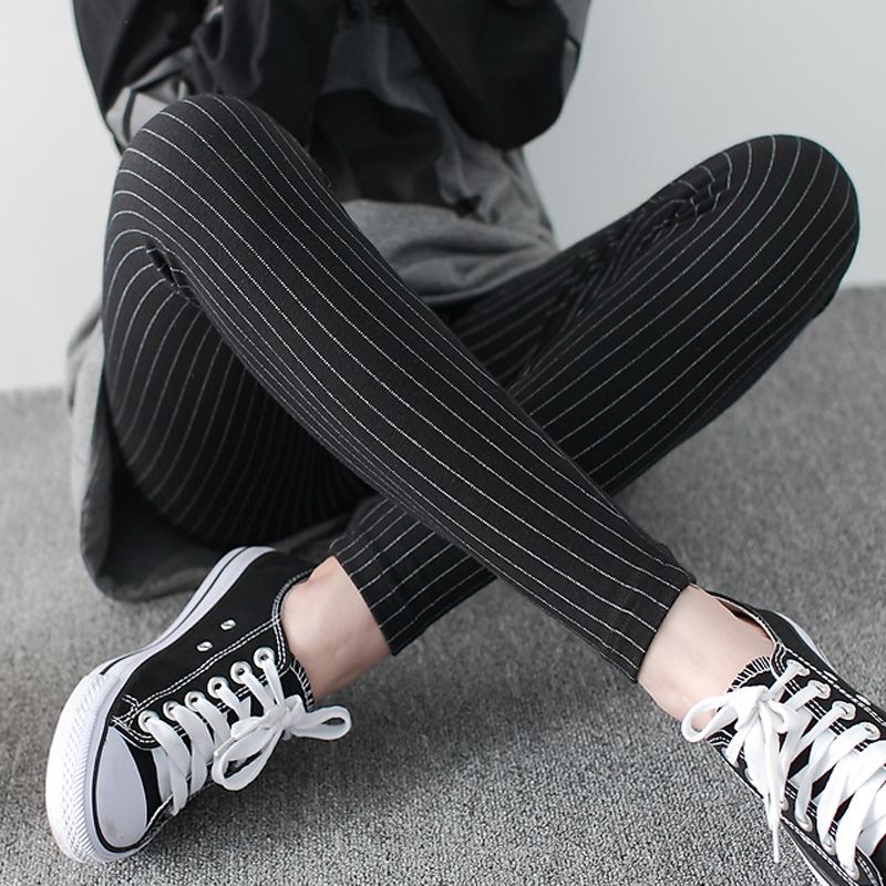 115c53405b38e8 Get Quotations · Ms. spring and autumn vertical striped cotton leggings  outer wear big yards thin section nine