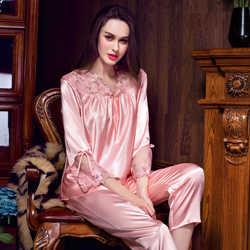 Ms. spring and summer fashion in europe and america love beans silk long sleeve pajamas pants big yards sexy lace solid color tracksuit suit