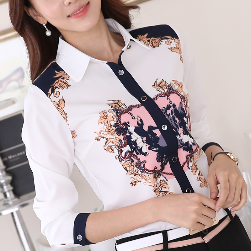 Ms. spring and summer professional women long sleeve shirt korean fan printing students inch shirt shirt slim was thin chiffon shirt fresh