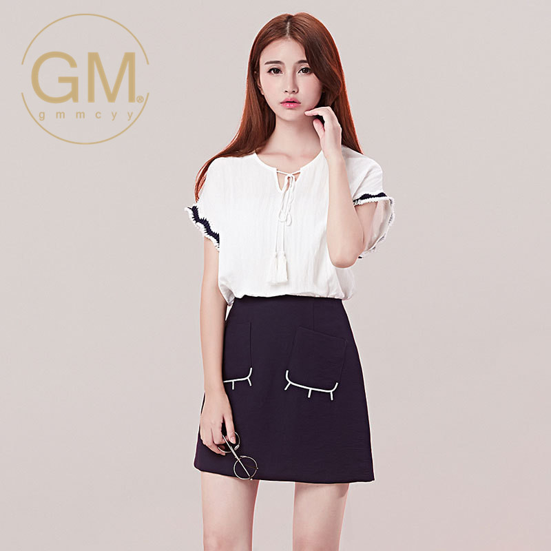 Ms. summer new solid round neck bow tie GMMCYY2016 straight t-shirt bat sleeve shirt 4633