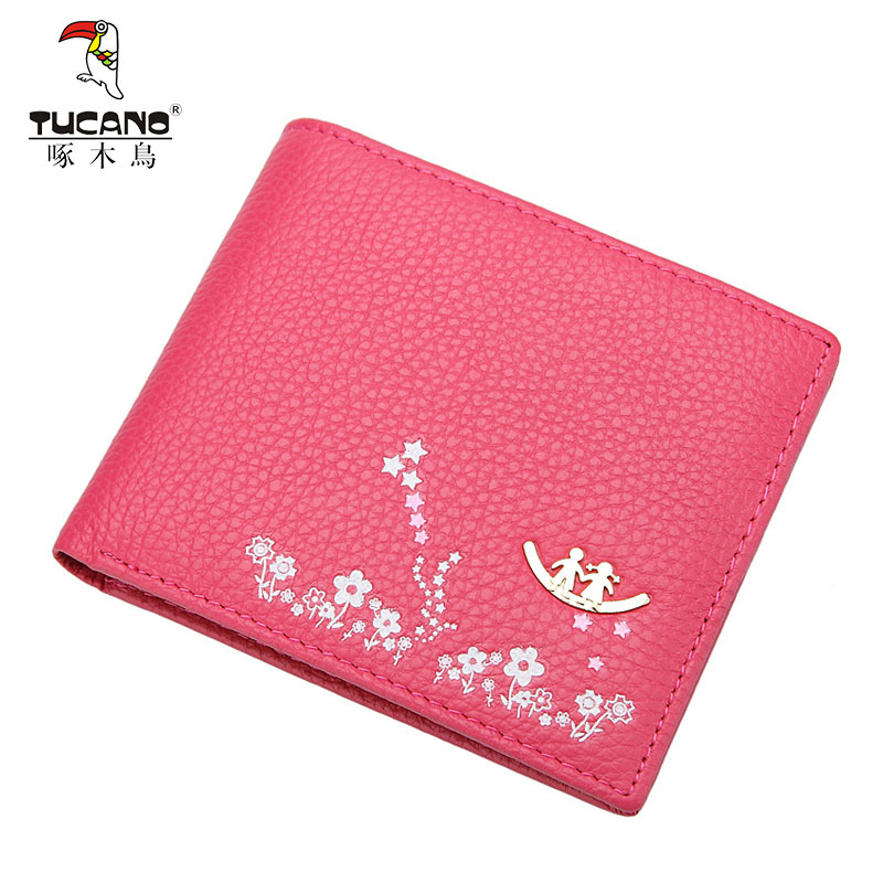 Ms. woodpeckers genuine leather wallet women short paragraph ms. wallet female korean version of the thin short paragraph two fold wallet women wallet