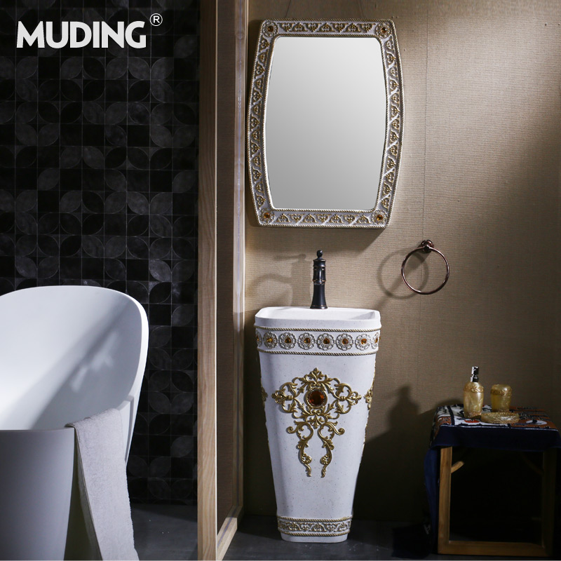 Mu tripod pedestal basin wash basin pedestal basin balcony bathroom one art pedestal euclidian column basin