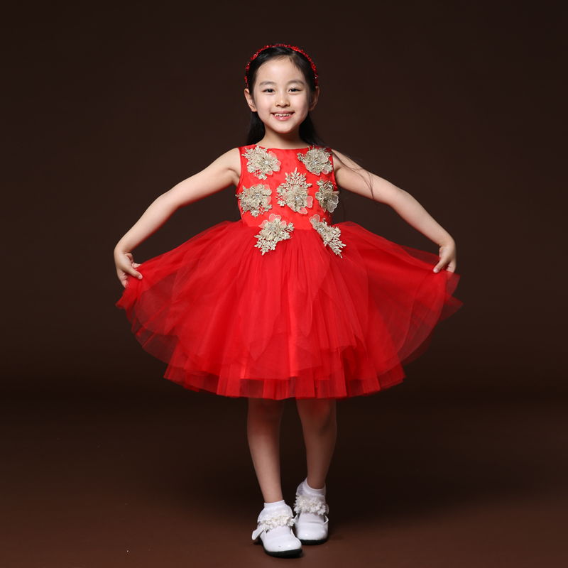 Mu with the village girls red princess dress veil flower girl dresses children's presenters dress wedding dress tutu