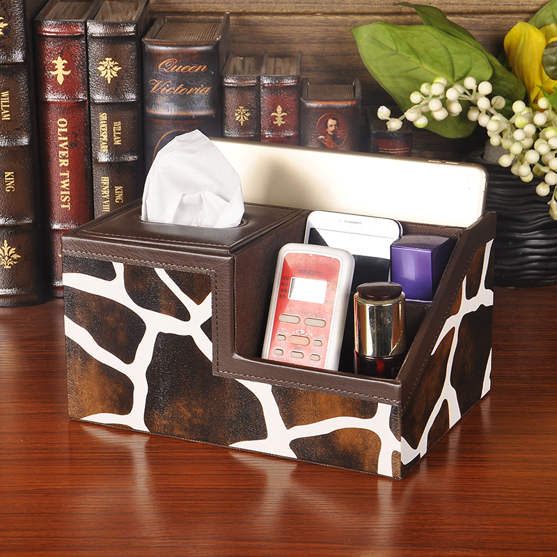 Multifunction leather towel tube reel spool living room remote control storage box tissue box napkin box pumping tray creative