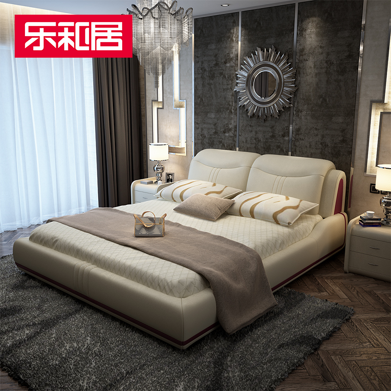 Music and home mixed bed bed leather bed leather double bed furniture bedside spell color design large by the package