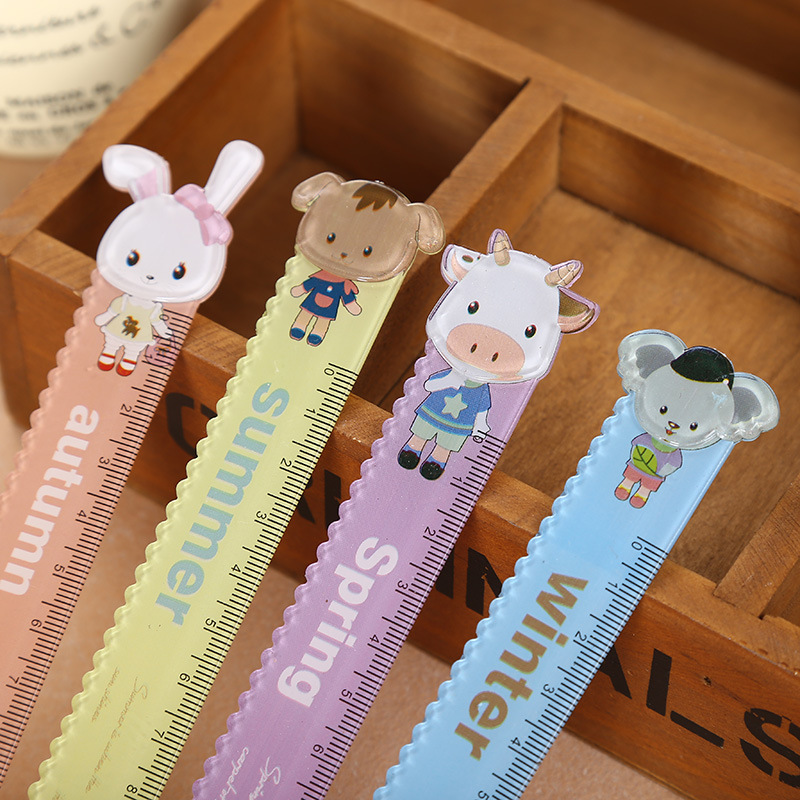 Music infant square children cute cartoon animal models 15 cm ruler ruler series of learning stationery supplies children's prize for the goods