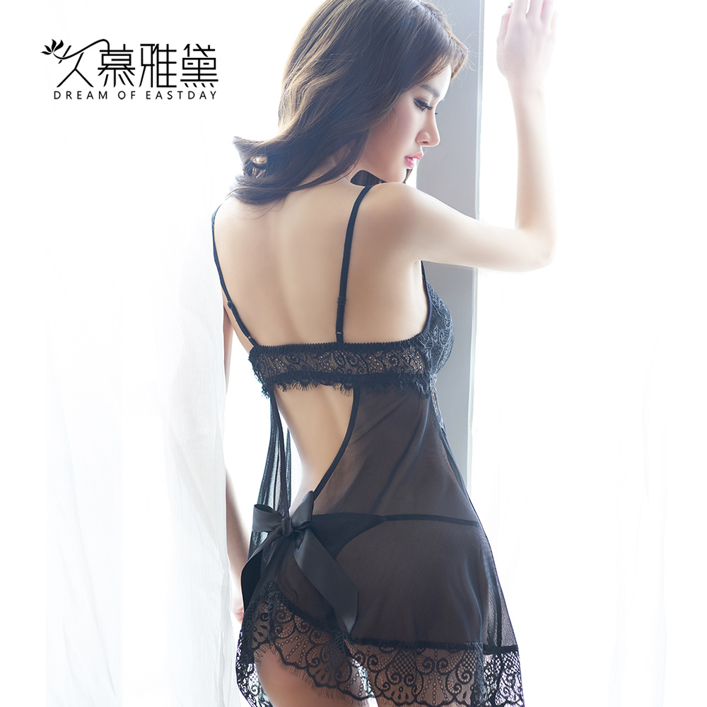 Muya dai long sexy summer pajamas lingerie female perspective temptation to sling mesh lingerie lace pyjamas