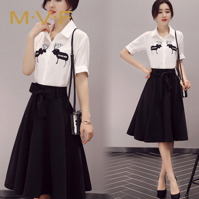 Mvf fashion 2016 summer new sweet temperament elegant piece skirt was thin and comfortable ladies suits 7063