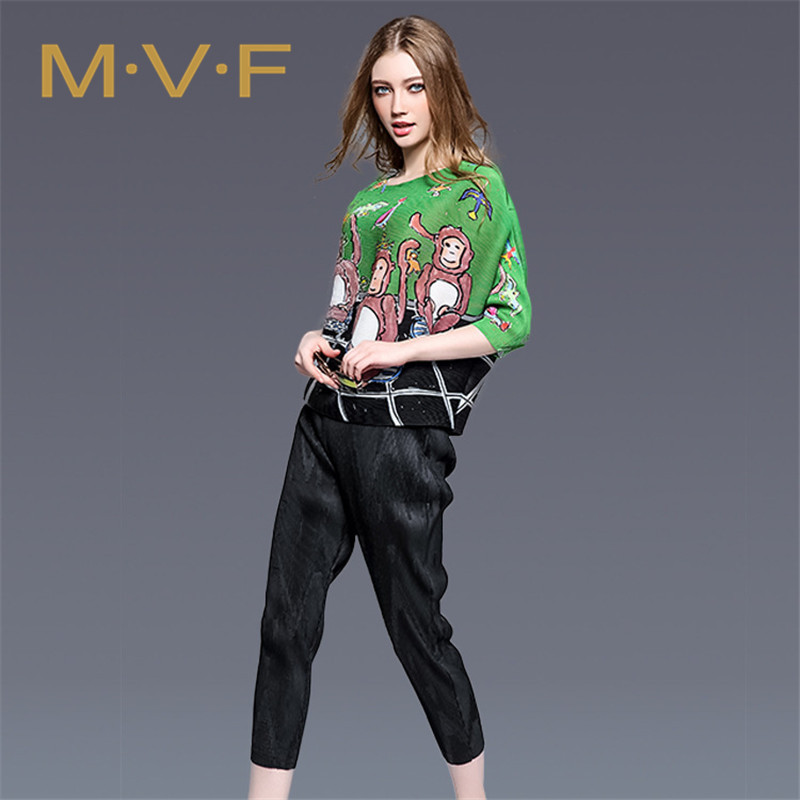 Mvf new european and american street fashion cartoon printing large size women's 2016 summer bat sleeve t-shirt female 1413