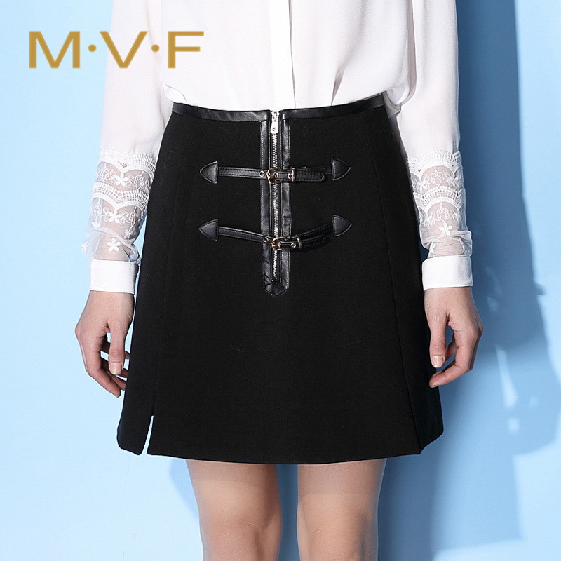 2a12ea7bc0 Get Quotations · MVF2016 autumn new leather buckle fashion wild skirts a word  skirt slit skirts solid color package