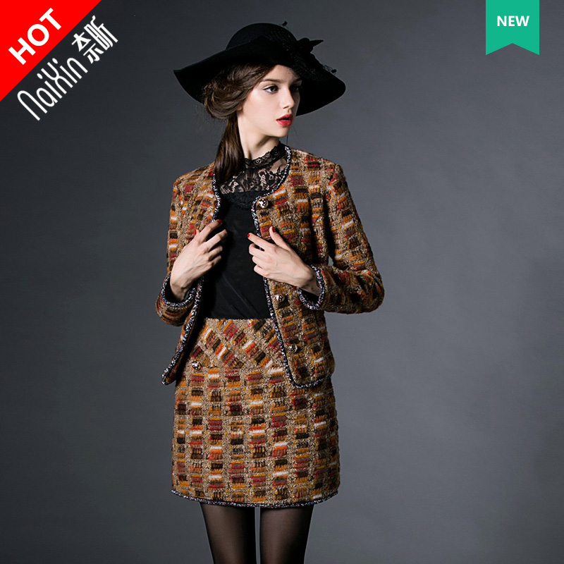 Nai xin custom 100318 new advanced custom ladies temperament round neck slim was thin suit fashion suit