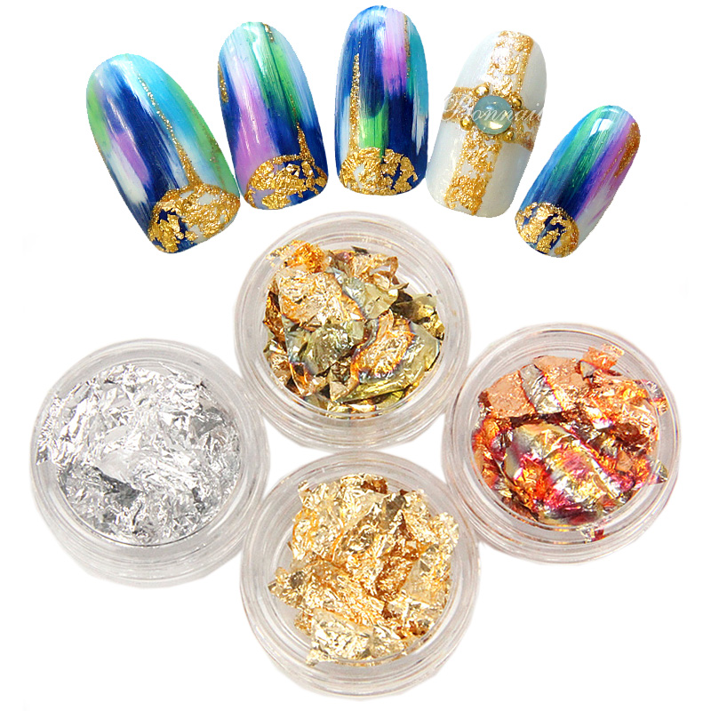 Nail jewelry polish glue phototherapy glass a gold and silver foil gold foil paper paper 4 color glass a gold and silver paper