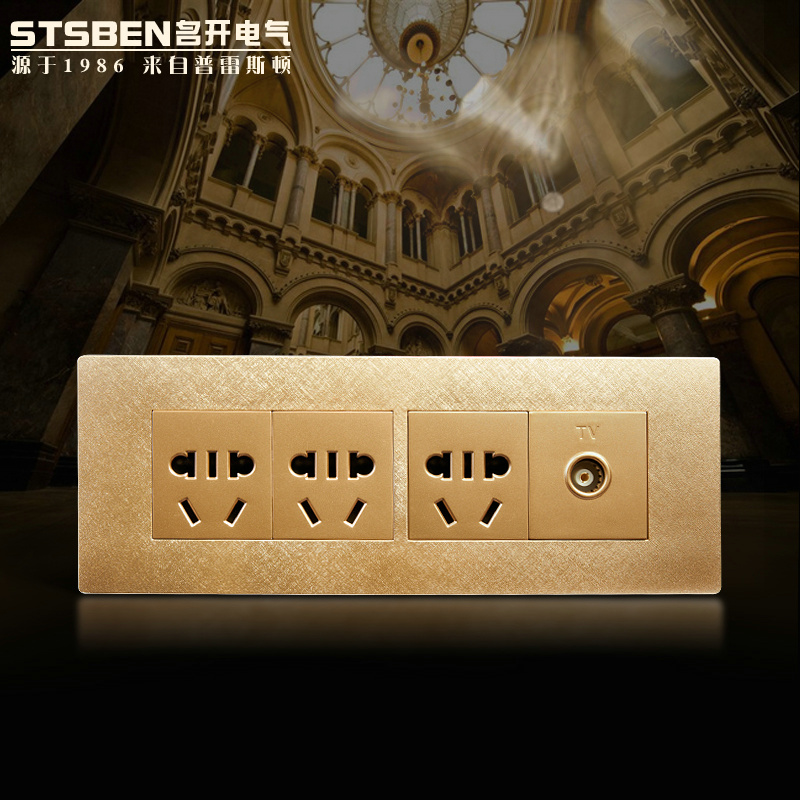 Name to open the electrical 118 household champagne 15 hole socket switch socket tv socket + three five hole socket
