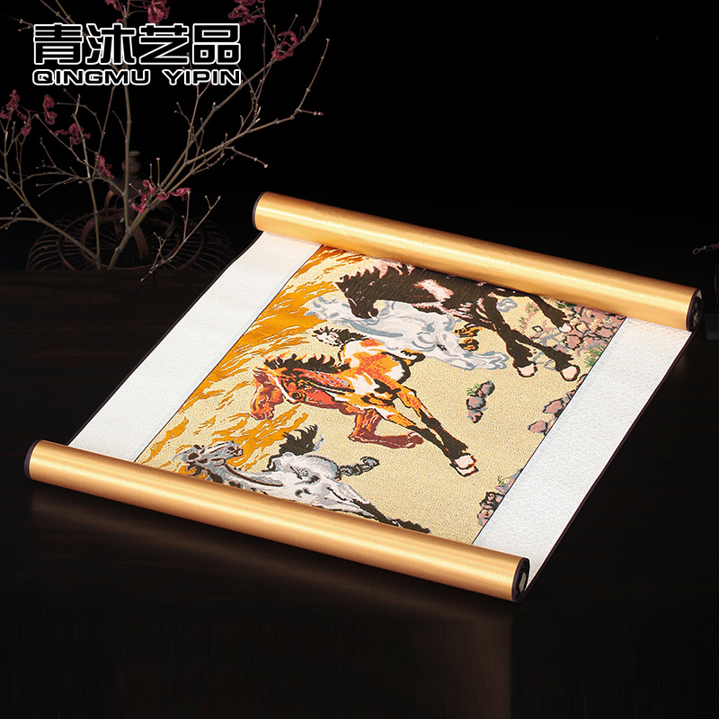 Nanjing yunjin brocade chinese wind business gifts calligraphy and painting horizontal version of the six horses scroll paintings decorative painting the living room den
