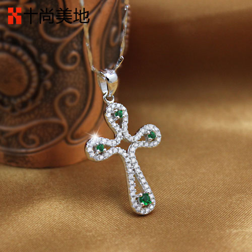 Naomi ten to light 925 silver cross necklace female green flash diamond luxury beauty court temperament ruili jewelry
