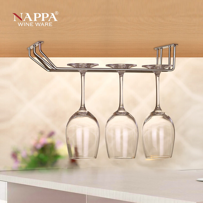 Nappa leather wine rack wine rack upside down cup holder wine 304 pure stainless steel stemware rack creative wall decoration
