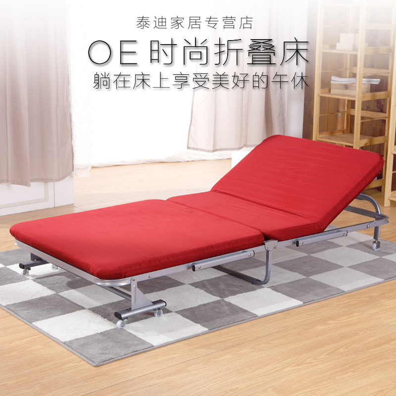 [National free shipping] solid wood folding bed single bed office lunch nap bed sponge bed wooden bed double