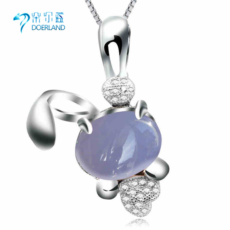 Natural blue chalcedony pendant 925 silver pendant necklace female models clavicle animal crystal gemstone jewelry