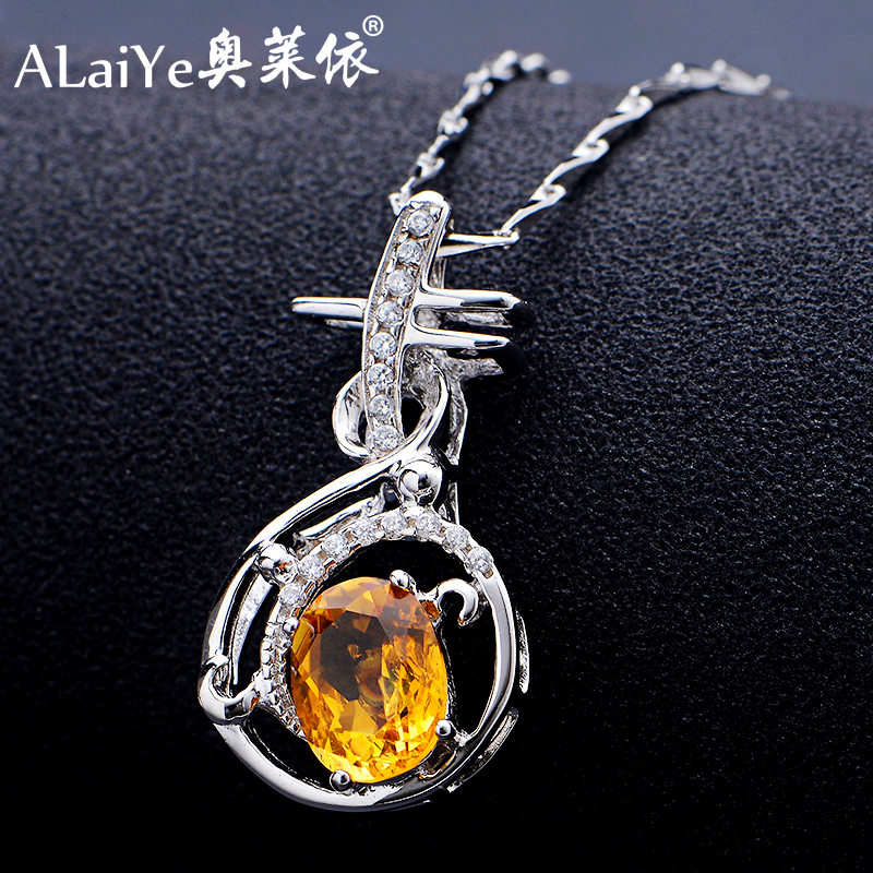 Natural citrine necklace inlaid lute pendant 925 silver necklace female short paragraph clavicle seeds chain jewelry female