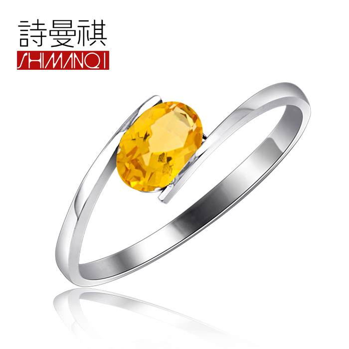 Natural citrine ring 925 silver ring finger female models small thin ring ring can be customized
