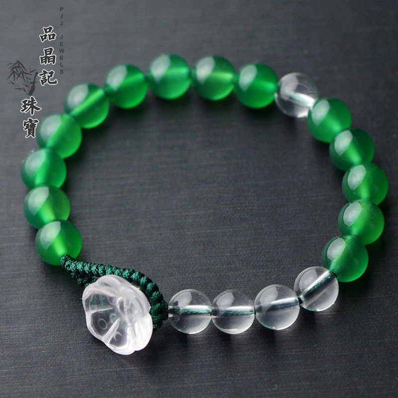 Natural green agate white crystal bracelet lucky bracelets bracelets jewelry for men and women national wind retro handmade knitting