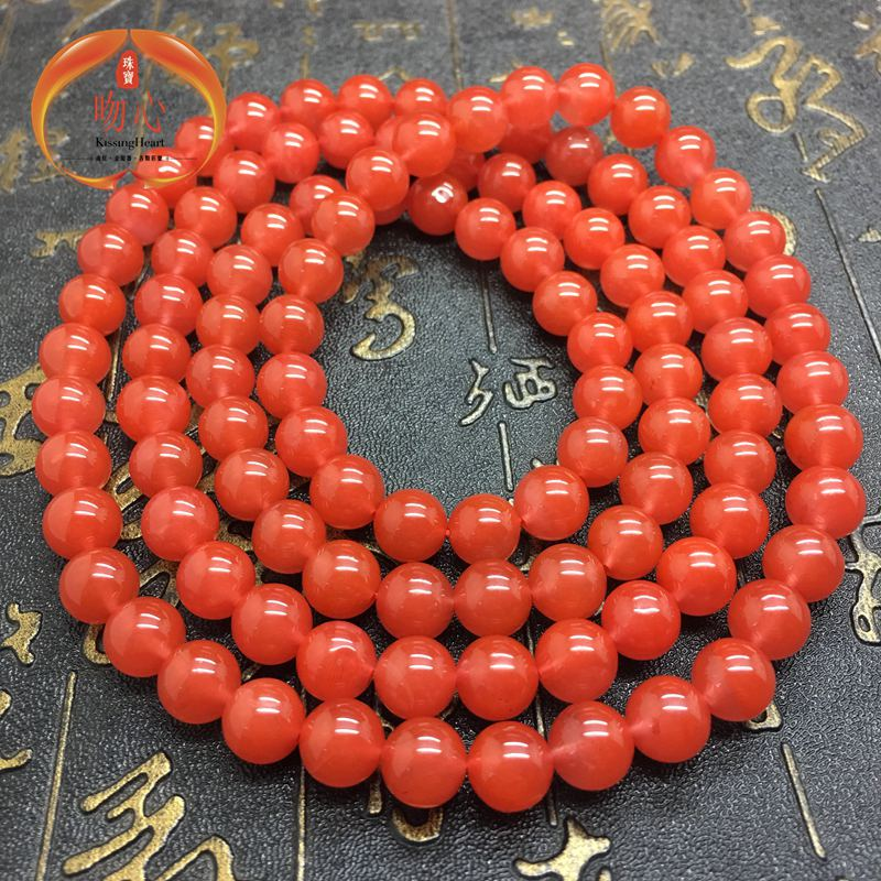 Natural red agate south sichuan liangshan joint material cherry red 108 large collection of buddhist prayer beads bracelets bracelet