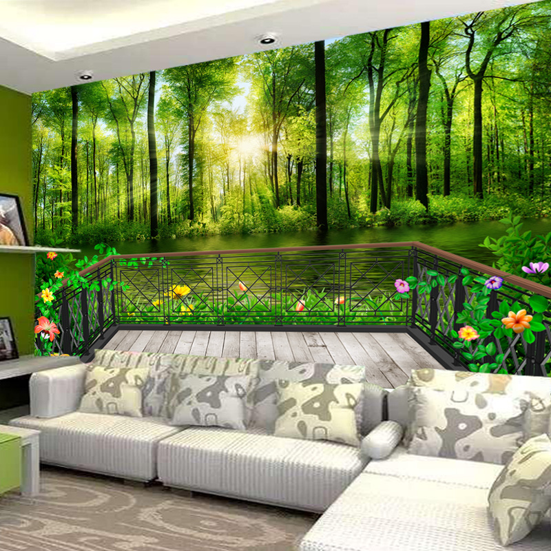 Nature landscape green wood balcony 3d stereoscopic large mural wallpaper living room sofa bedroom wallpaper background