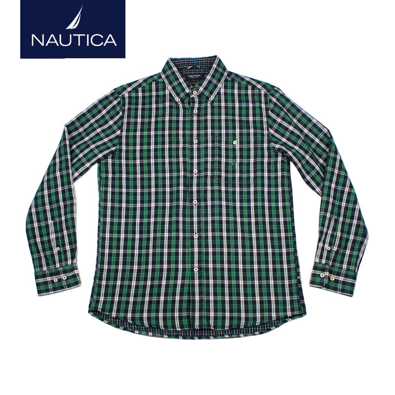 Nautica/nautica thin dongkuan double thick flannel plaid men's long sleeve shirt WC34001F