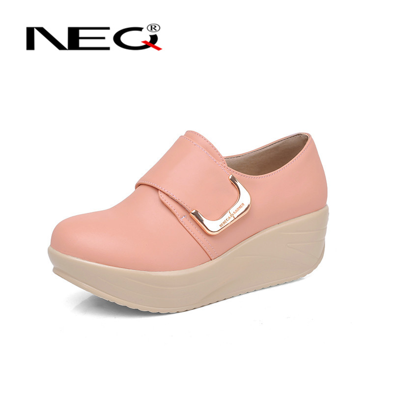 Neq velcro wild fashion tide shoes women 2016 new deep mouth round low shoes pine cake bottom shoes 4147