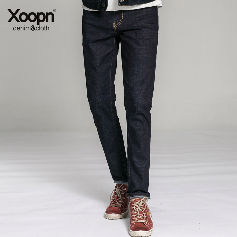 New autumn and winter xoopn2016 colors blue jeans male slim feet black jeans male small straight jeans