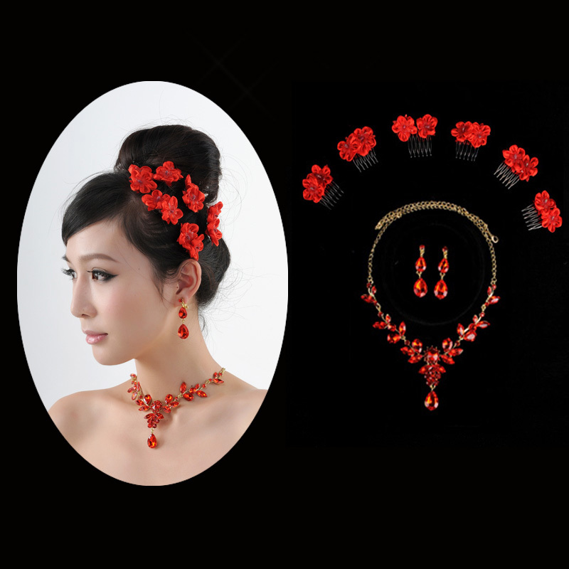 New bride headdress flower head red princess tiara with comb exquisite small flowers diamond necklace 109