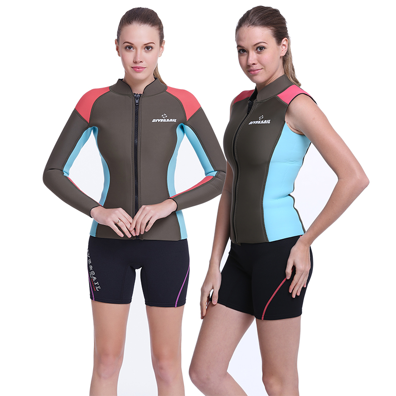 New dive & 13.358kj sail 5MM female thick warm long sleeve ms. split wetsuit winter swimming warm vest