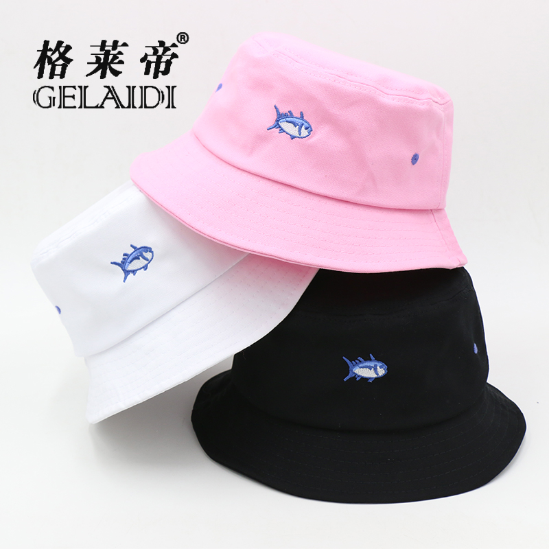 New embroidery fish fisherman hat female summer influx of korean couple collapsible  sun hat sun hat 4ebbbd7e1673
