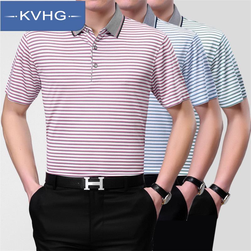 New fashion KVHG2016 middle-aged men short sleeve t-shirt lapel summer business casual men's striped 9 103