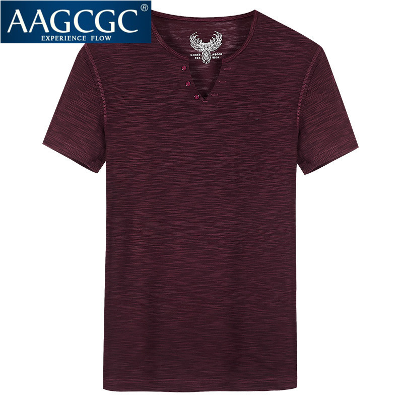 New fashion men's v-neck t-shirt bottoming hedging aagcgc years of daily casual slim was thin 0203