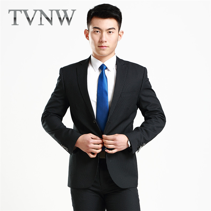 New fashion slim TVNW2016 banquet groom suits men's korean business casual striped suit 1809