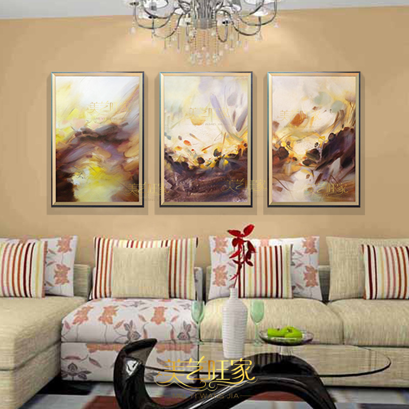 New handmade triple abstract painting framed painting decorative painting modern minimalist living room combination sets
