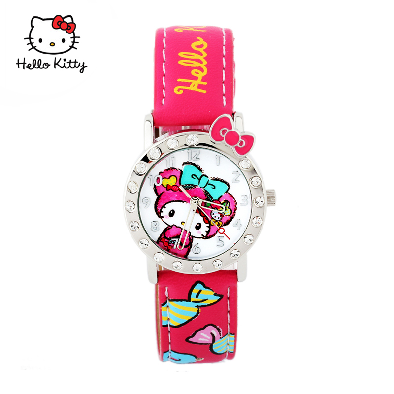 New hello kitty kt cat cartoon children waterproof watch girls primary school girls korean children watch female models