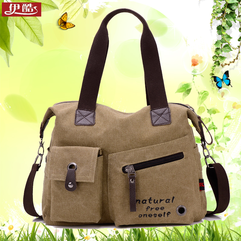 New korean version of college wind tide canvas bag handbag handbag shoulder bag messenger bag simple casual big bag