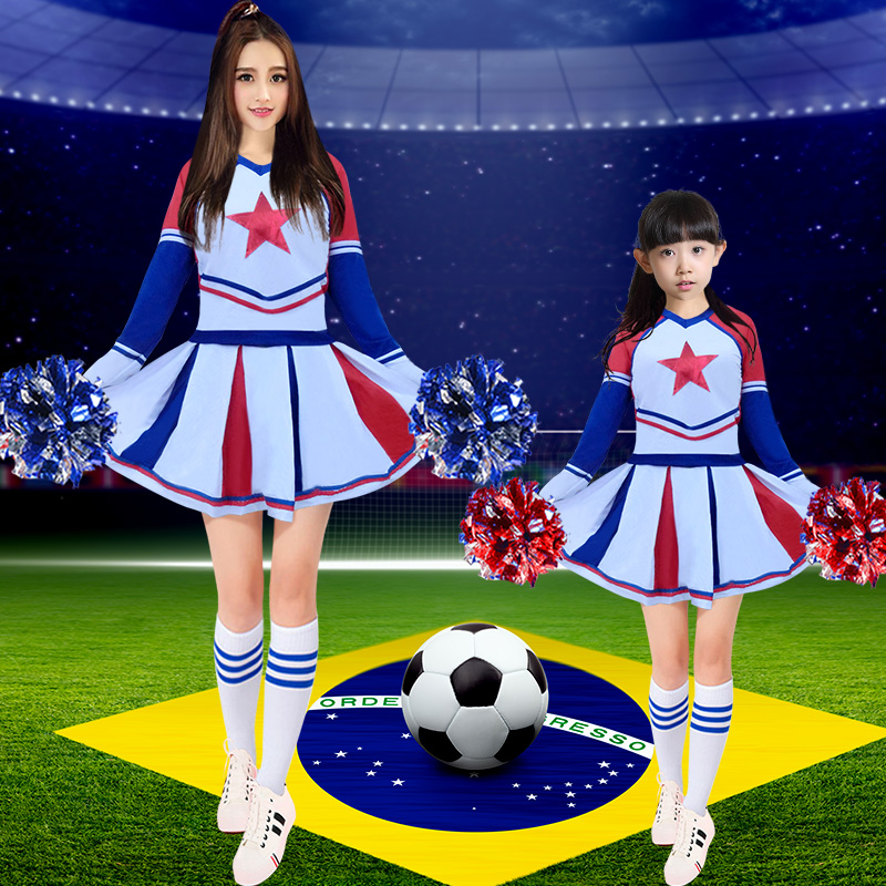 New korean version of the children's cheerleading apparel cheerleading aerobics dance costumes cheerleading uniforms cheerleading performance clothing adult pull pull