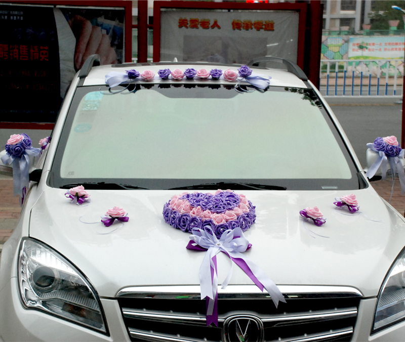 New korean wedding car decorated floats wedding car floats layout simulation flower suit supplies