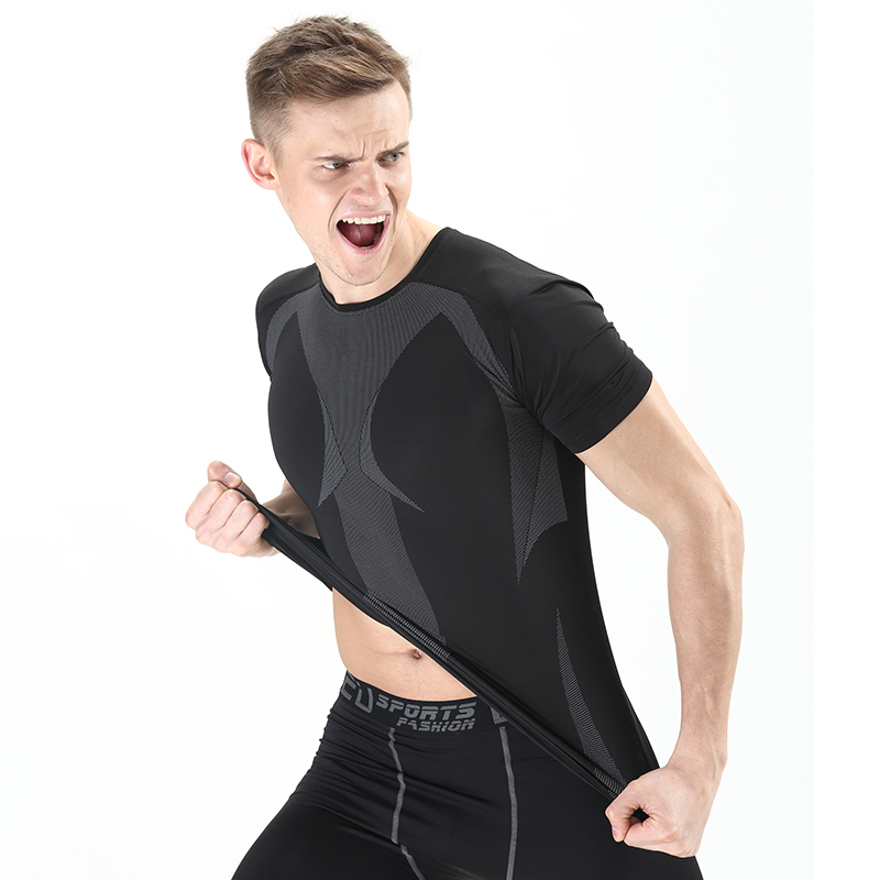 New men's short sleeve men short sleeve compression tights fitness stretch tights fitness training bottoming