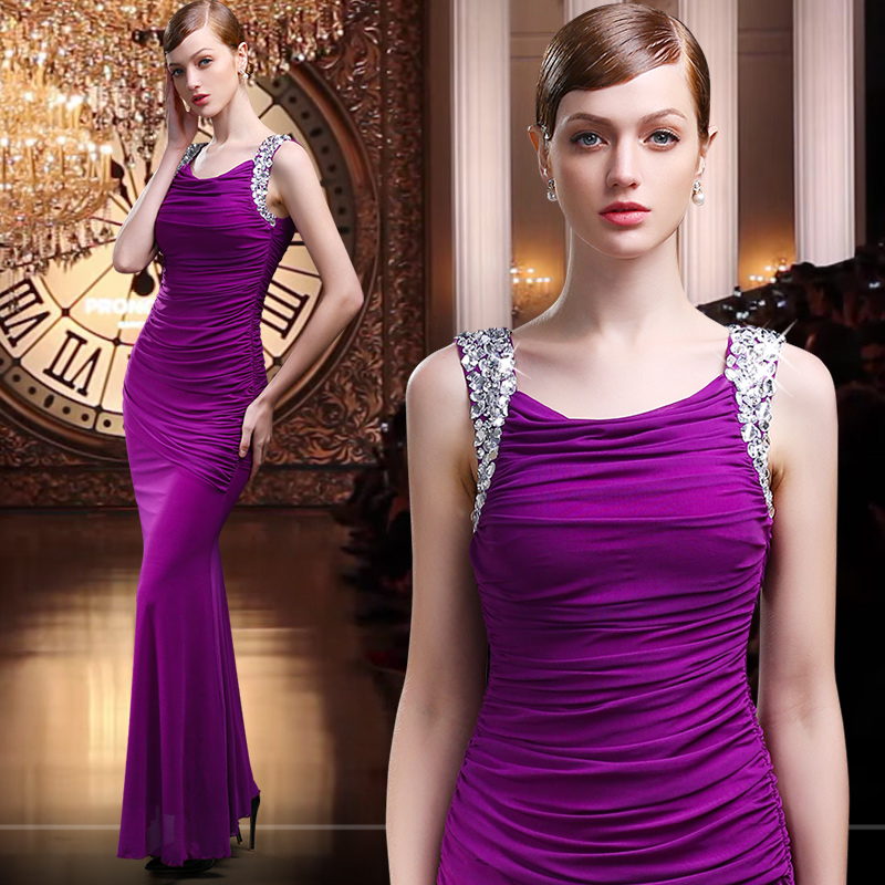 New spring and summer 2016 company annual meeting sexy long section was thin gauze dress purple evening dress fashion slim