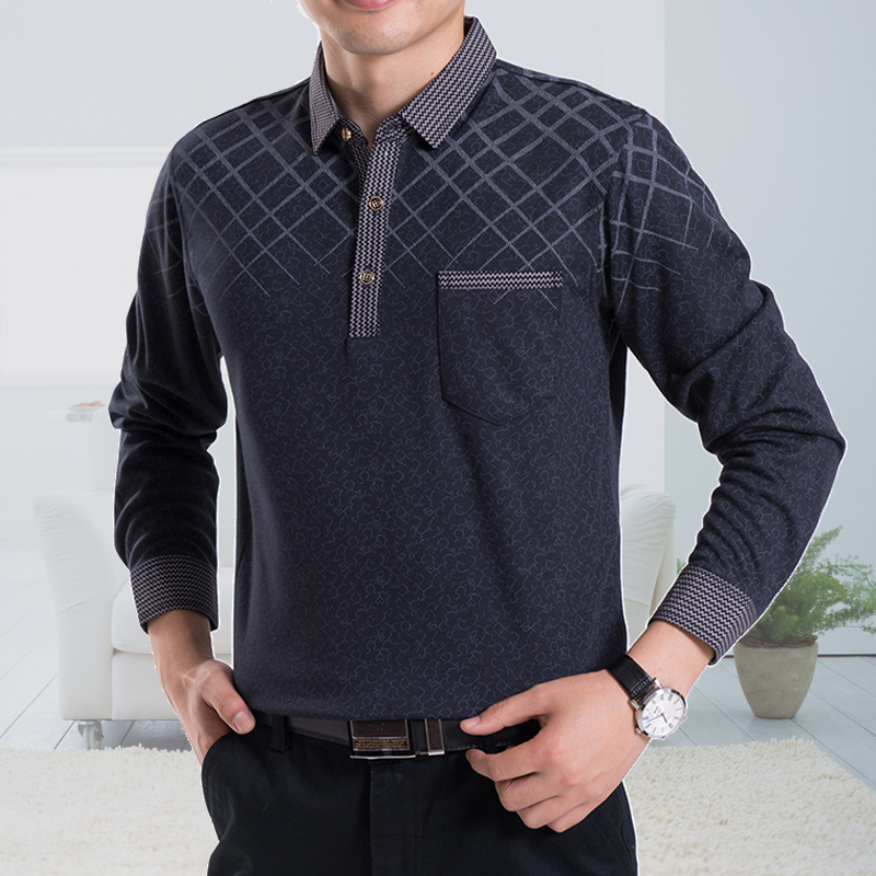 New spring middle-aged men middle-aged men's father loaded bottoming shirt compassionate big yards long sleeve t-shirt lapel middle-aged father loaded